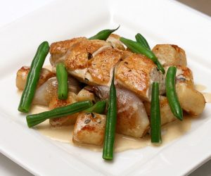 This image it is about Island Roasted Chicken with Thyme Mustard Sauce