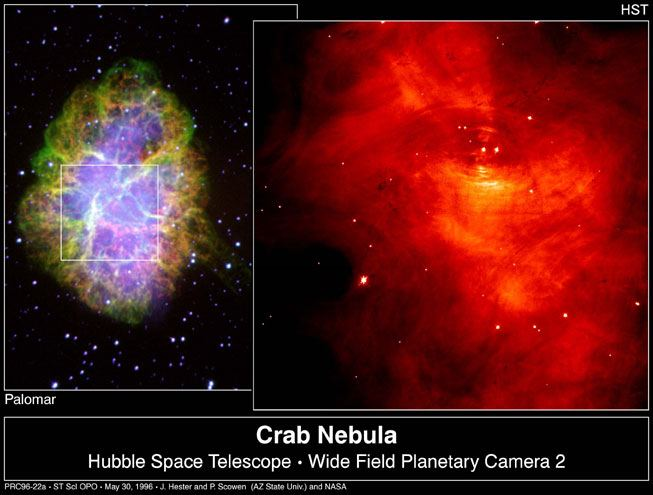Hubble Space Telescope images of the tiny Crab Pulsar surrounded by vast nebula courtesy of NASA.