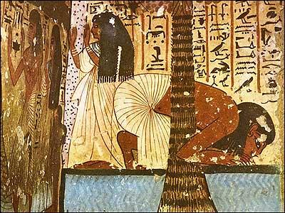 Dead Man Kneeling Beside a Palm Tree Drinking