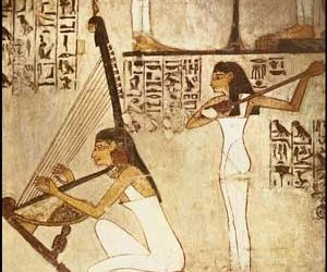Girls Playing the Harp and Lute-Tomb of Vizier Rekhmire