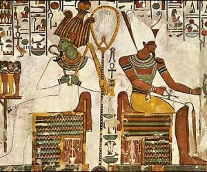 Osiris and Atum Seated with Offerings