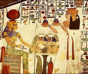Queen Offers Vases to Goddess Hathor-Egypt