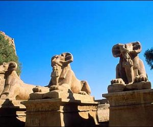 Ramsphinxes at entrance to Karnak Temple-Egypt