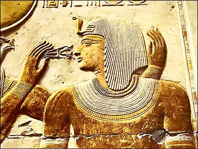 he God Khonsu Offers the King the Emblem of Life- Egypt