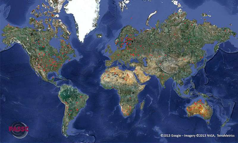 Map of all the confirmed impact craters on Earth (click to enlarge image)