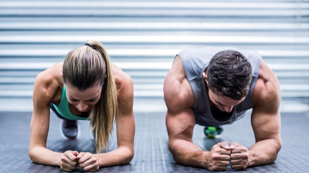 Muscular strength and endurance exercises plank position