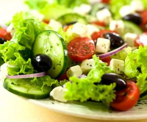 greek salad with vegetarian feta - vegetarian lifestyle