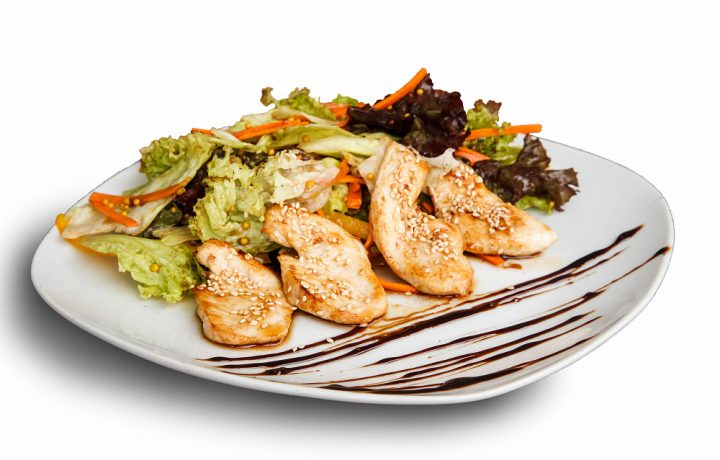 Grilled chicken sate salad (serves 8)
