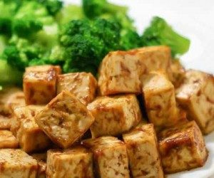 This image it is about NO OIL VEGAN BAKED TOFU CHEESE RECIPE